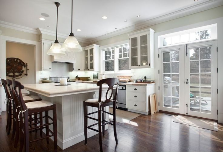 Cottage Kitchen with Ms international elegant white marble, Volume lighting pendant with clear ribbed glass shade