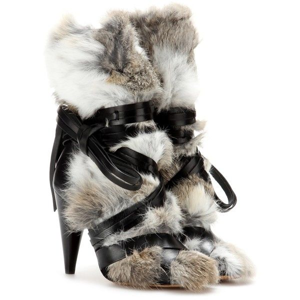 Isabel Marant Pietra Leather and Fur Ankle Boots ($890) ❤ liked on Polyvore featuring shoes, boots, ankle booties, heels, neutrals, leather bootie, short heel boots, leather booties, leather ankle booties and ankle boots