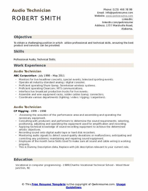 Audio Technician Resume Samples Technician Sample Resume Templates Resume