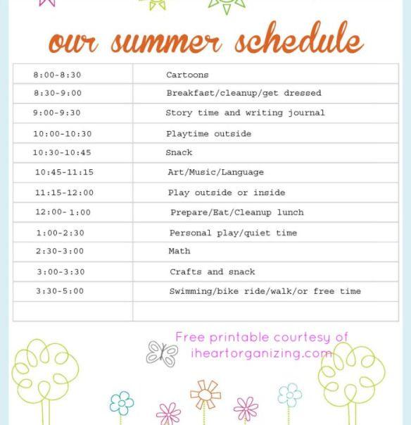 Summer Schedule for Kids - No Holding Back