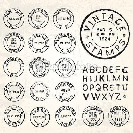 conjunto de carimbo vintage de vetor — Ilustração de Stock #27231961                                                                                                                                                                                 Mais