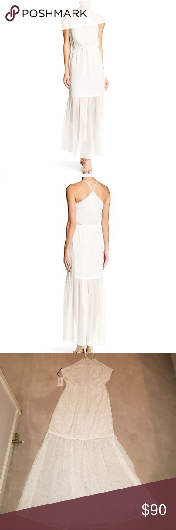 """Ali & Jay Periwinkle Women's White Sleeveless Gown NWT Ali & Jay Periwinkle Women's White Sleeveless Ruffle Hem Gown Night Out Dress  - Bandeau; Sleeveless - Front snap button closure - Front keyhole - Elasticized waist - Lined; Ruffle hem - Approx. 54"""" length (size L) - Imported - Shell/lining: 100% polyester Ali & Jay Dresses Maxi"""