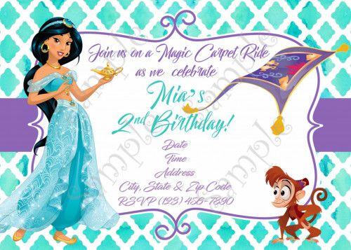 30 best Princess Jasmine Birthday party Ideas images – Princess Jasmine Birthday Invitations