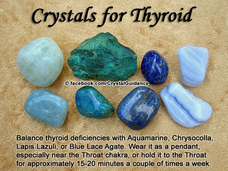 Crystal Guidance: Crystal Tips and Prescriptions - Thyroid. Top Recommended Crystals: Aquamarine, Chrysocolla, Lapis Lazuli, or Blue Lace Agate. Additional Recommendations: Blue Tourmaline, Azurite, Citrine, or Kyanite. The thyroid is associated with the Throat chakra. Wear it as a pendant, especially near the Throat chakra. Deficiencies/To Stimulate Thyroid: Blue Lace Agate, Citrine, Kyanite To Balance Thyroid: Aquamarine To Regulate Thyroid: Lapis Lazuli