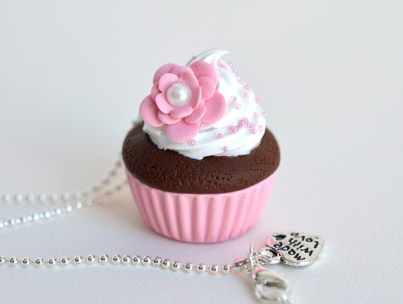 Pastel Pink Cupcake with Flower Necklace  Polymer Clay by Ashito, $16.00