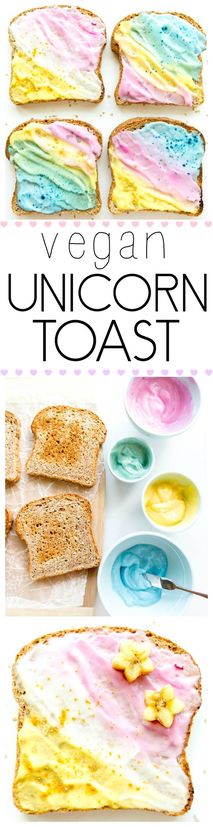 Unicorn Toast. Vegan with all natural food coloring options, from actual food! Swirled with coconut milk yogurt or dairy free cream cheese. Creative, fun and healthy breakfast or snack! Make gluten free with gluten free bread! #unicorn #toast #vegan