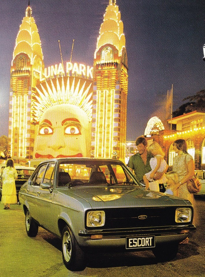 late 1970s ad for the Ford Escort taken at the unmistakeable entrance to Luna Park