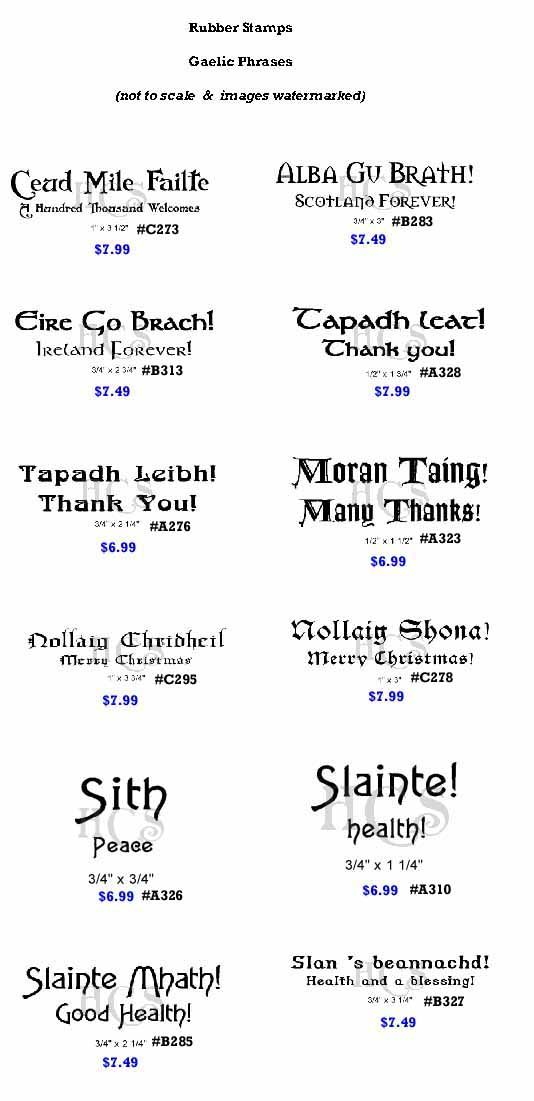 Image detail for -RubberStamps - Gaelic Phrases. I just like the phrases!