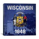 Found it at AllModern - Wisconsin Flag, Wisconsin State Captiol with Grunge Graphic Art on Canvas