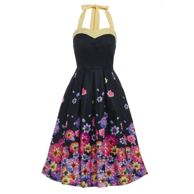 Lindy Bop. Een klassieke swing Carola zwarte jurk met bloesem bloemen print en halternek.