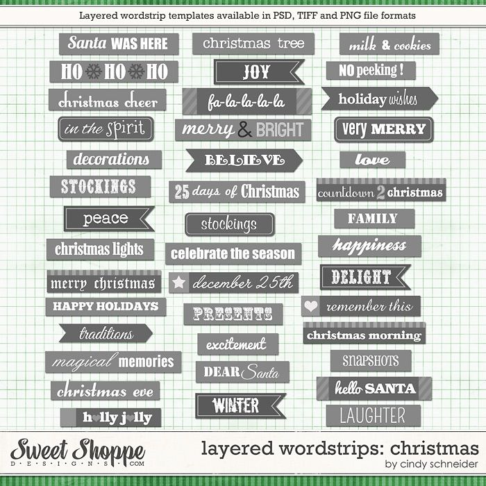 Cindy's Templates: Layered Wordstrip - Christmas by Cindy Schneider