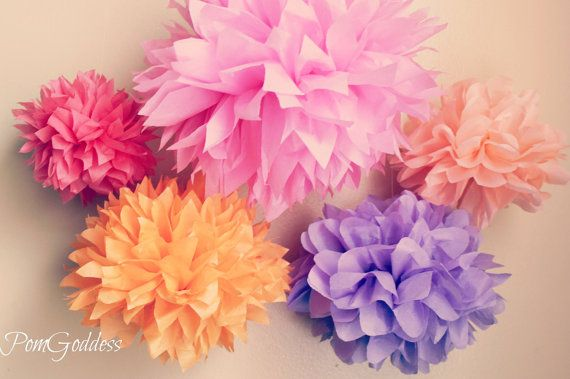 30 Small Tissue Paper pom poms- Wedding Decor-Bridal Shower,Baby Shower-Party Decor-Birthday Decor,Baptism,Sweet 16