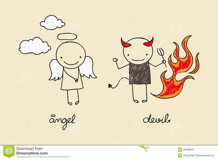angel y diablo dibujo - Taza de Noska