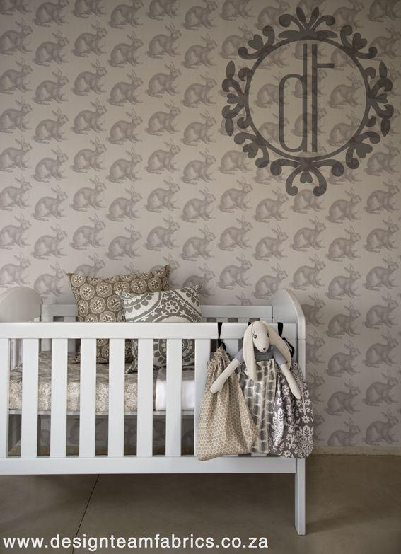 Design Team©:  Wallpaper in Rabbit design (Light grey)