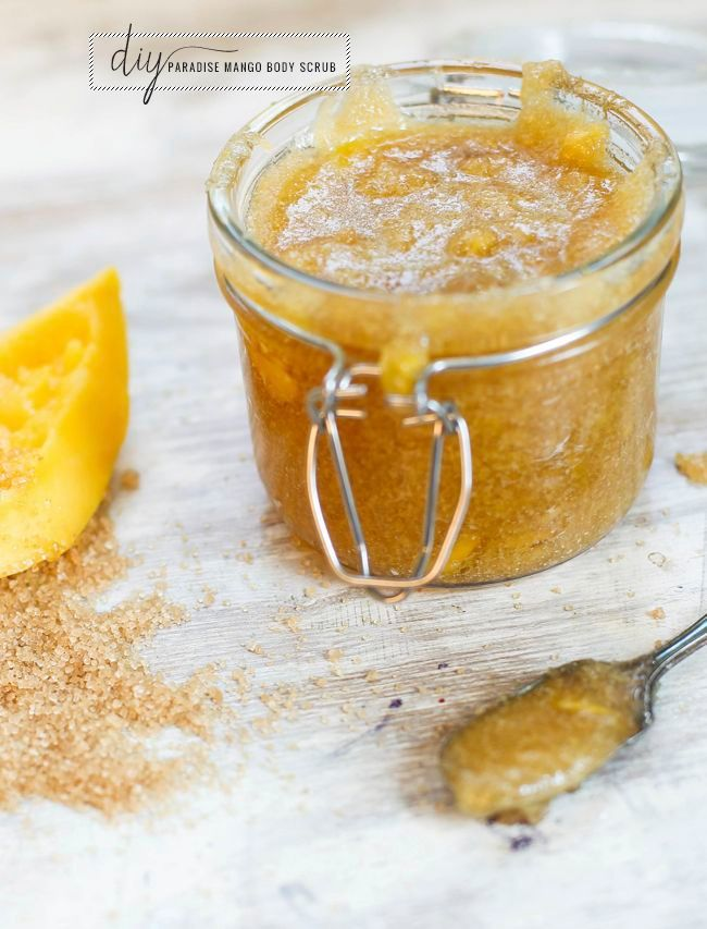 Paradise mango DIY body scrub. Combine 1/2 cup raw sugar with a couple of tablespoons of coconut oil (heat in the microwave if it's solid). Add a 1/4 cup chopped raw mango and a 3-4 drops of orange essential oil. Mash everything together. Add more sugar or oil until you get a thick, goopy consistency.