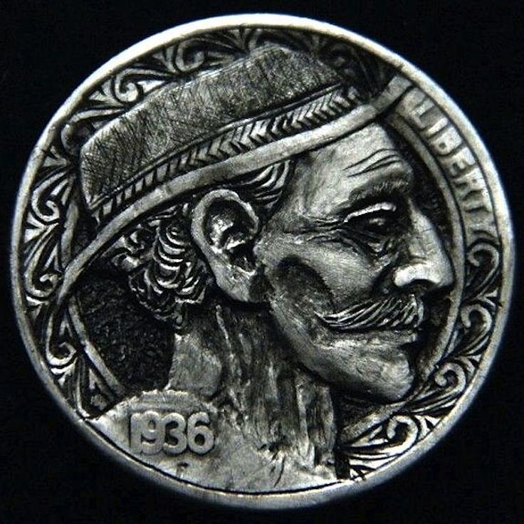 ROBERT MORRIS HOBO NICKEL - TRADITIONAL HOBO - 1936 BUFFALO PROFILE