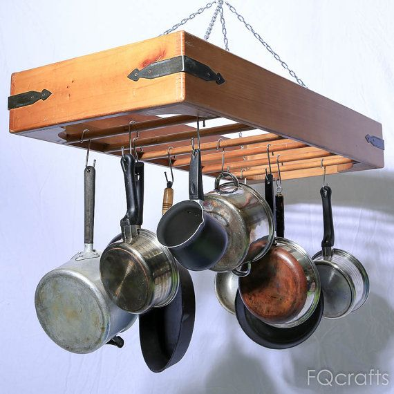 Large wooden hanging pot rack store pots pans and for Kitchen racks hanging
