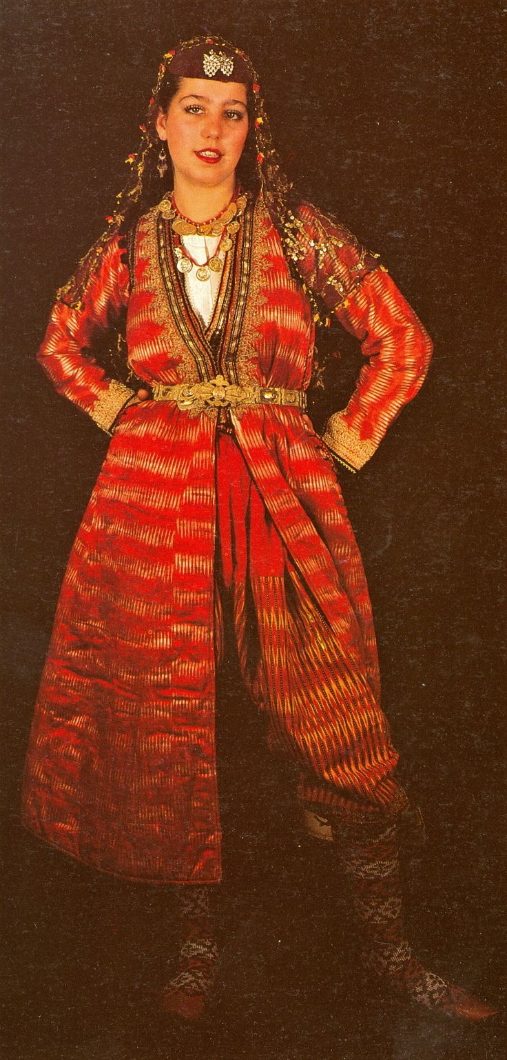 Traditional costume of a newlywed bride, from the Bartın region, ca. 1925-1950.  It was worn on a daily base during the first month(s) after the wedding.  (Source: page 167 of 'Tarihi Türk Kadın Kıyafetleri', printed in Istanbul, 1986).