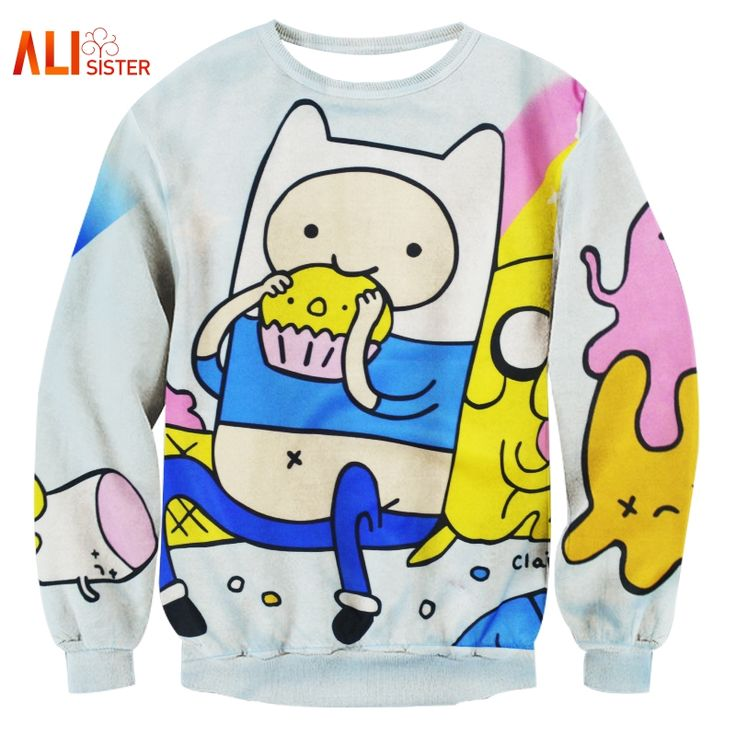 Alisister Harajuku Style Women/men Adventure Time Sweatshirt Print Funny Cartoon Biscuit 3D Hoodies Pullovers Kawaii Clothes