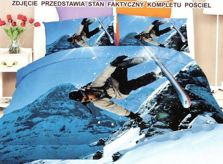Niebieska pościel z mikrowłókna z motywem gór śniegu ze snowboarddzistą