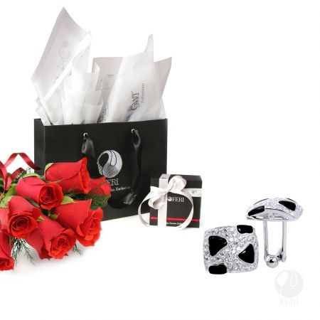 Global Wealth Trade Corporation - FERI Designer Lines  Gift Package Includes: - 1 FERI Set of 925 Fine Sterling Silver Bandero Cufflinks - 1 Small FERI Gift Bag - 1 FERI Cufflink Jewelry Box - Tissue Paper - FERI Ribbon   Have a very Happy Valentines day!  http://bit.ly/1K1GTQw