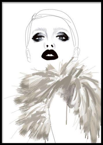 Poster med trendig illustration i beige och svartvitt. Snygga mode tavlor med fashion motiv. Cool tavla med kvinna med attityd.