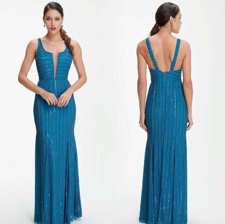 Vestido Azul Petroleo Classico Todo Bordado Vestido De Festa Rj