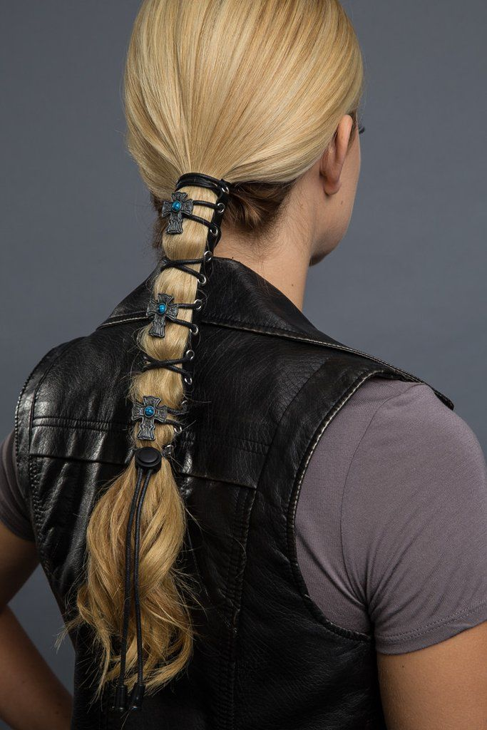 GENUINE BLACK LEATHER WOMENS LACED HAIR GLOVE PONYTAIL WRAP MOTORCYCLE RIDING