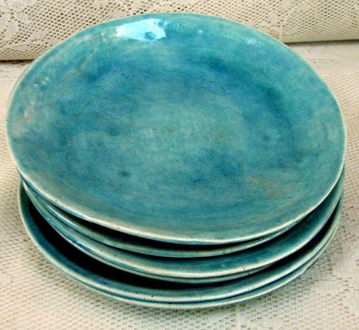 Side/salad plates, stoneware plates, set of 6 aqua crackle glazed. –  I adore this color!