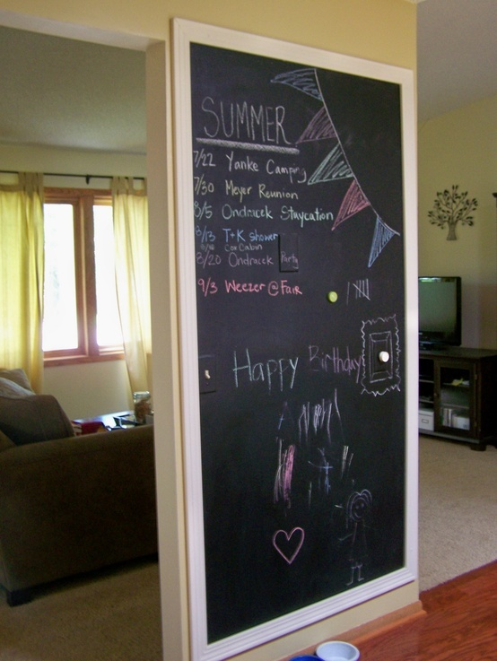 framed chalkboard wall.. Doing this with a chunkier frame