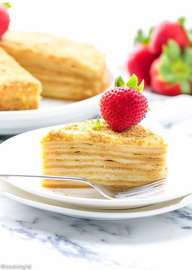 """Honey Layer Cake """"Medovik"""" Recipe - Wafer thin layers of honey cake and rich custard pastry"""
