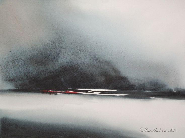 A glacer le sang - Schilderij,  37x28 cm ©2015 door Muriel Buthier-Chartrain -                                                            Hedendaagse schilderkunst, Papier, Landschap, aquarelle, abstrait, paysage, blanc, neige
