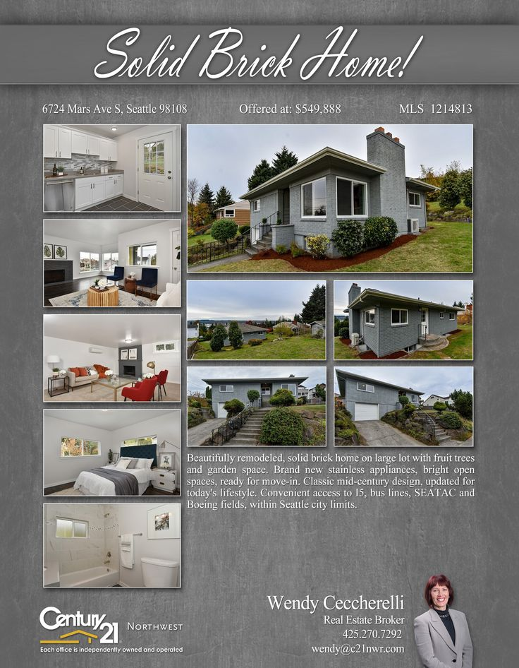 #PENDING Cheers Wendy Ceccherelli  Beautifully remodeled, solid brick home on large lot with fruit trees and garden space. Brand new stainless appliances, bright open spaces  MLS # 1214813 http://6724marsaves.c21.com/