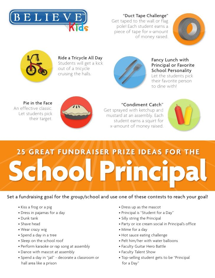 25 great school fundraiser prize ideas for the school principal by throwing a contest and getting involved school principals can make an impact on the
