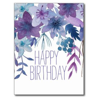 Blue Purple Flowers Watercolor Postcard