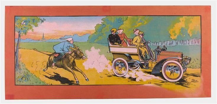 """""""Âne et automobile sur un chemin de campagne"""". Compiègne, musée de la voiture - Photo (C) RMN-Grand Palais (domaine de Compiègne) / Stéphane Maréchalle"""