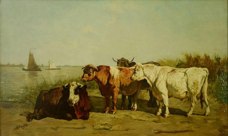 Emile de Lummen van Marcke (1827-1890), Barbizon school. Titel: Koeien aan de waterkant - Artiquair