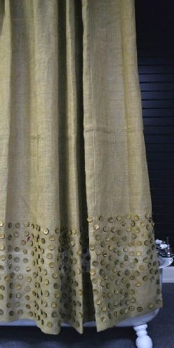 shop online cheap Burlap Button Shower Curtain very BBS  Burlap is in