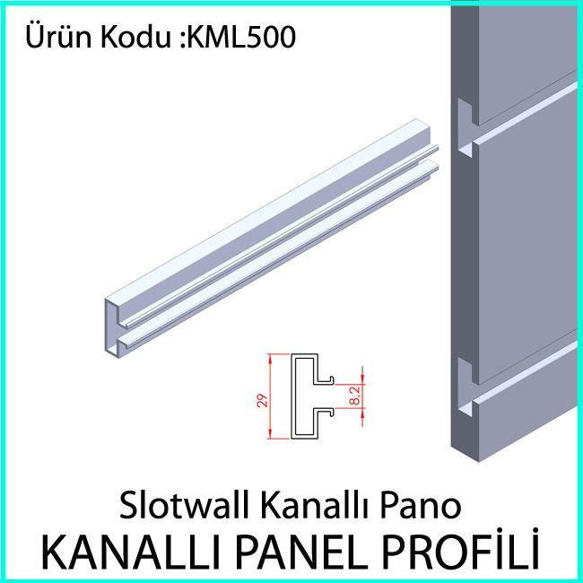 slotwall kanallı ahşap panel aluminyum raf profili KML500