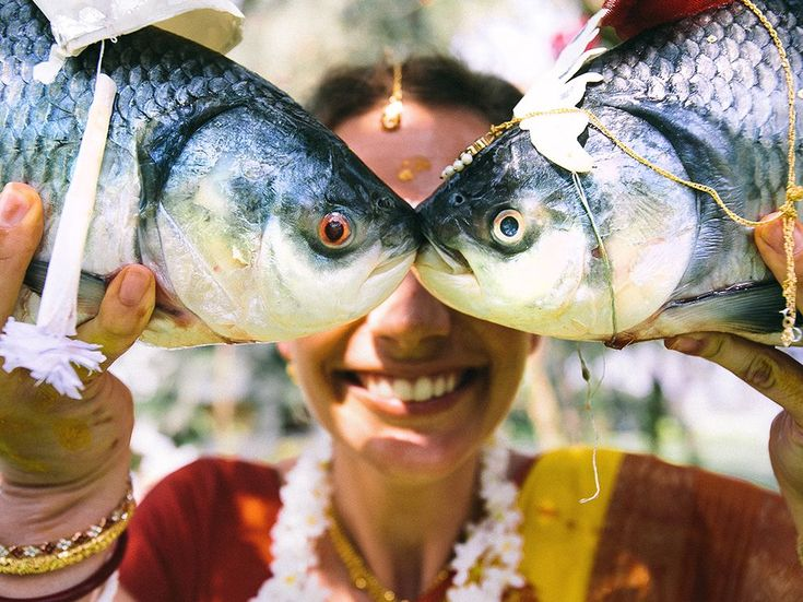 2014 - The gaye holud is a traditional Bengali wedding ceremony in which the bride and groom are presented with fish dressed as the couple.