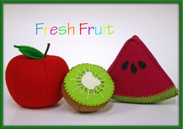 Wool Felt Play Food  Kiwi Fruit  Waldorf Inspired by EvaLauryn, $20.00