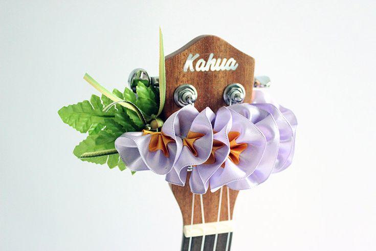ribbon lei for ukulele /purple plumeria / ukulele accessories / ukulele decor / mandolin / banjo / hawaiian lei / satin ribbon