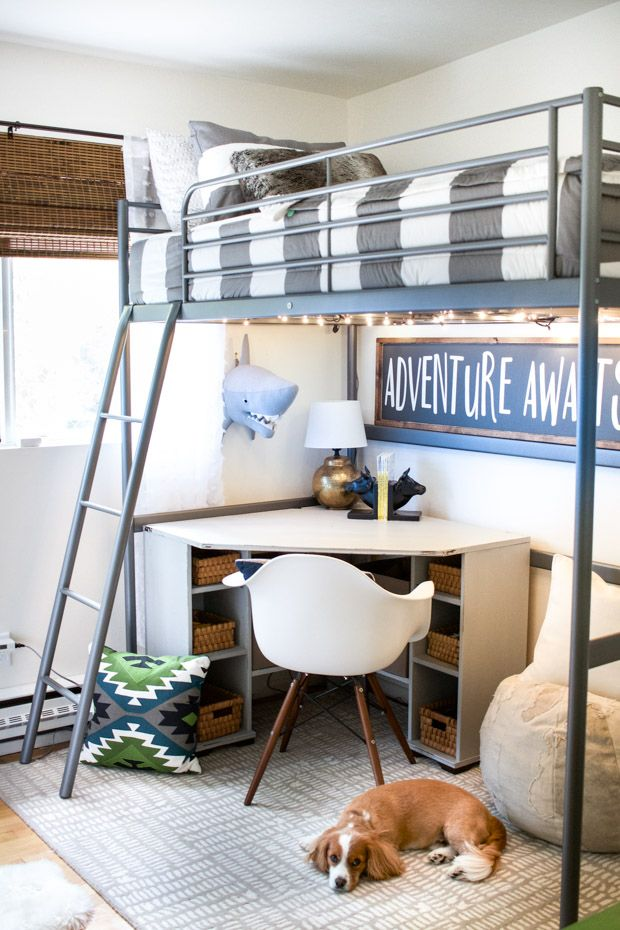 Best 25 loft bed desk ideas on pinterest for Boys loft bedroom ideas