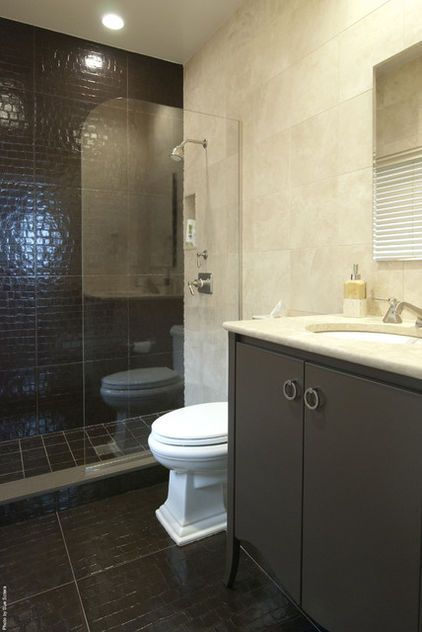 Chic Gray Modern Bathroom Design With Charcoal Cabinet Vanity Washstand Crema Marble Counter Tops And Walls Backsplash