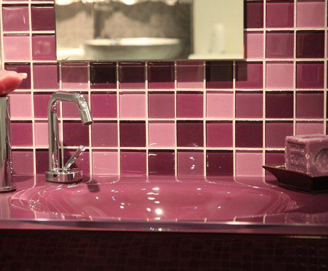 17 best salle de bain images on Pinterest Bathroom, Bathrooms and - mosaique rose salle de bain