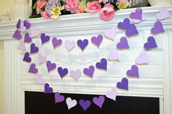 Hey, I found this really awesome Etsy listing at https://www.etsy.com/listing/176236353/paper-purple-garland-heart-garland