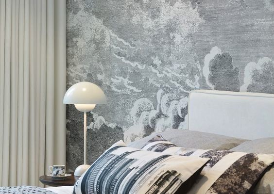 Cole & Son Nuvolette bedroom wallpaper