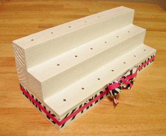 Cake Pop Stand / Lollipop Stand three level by ANGIECAKEScali, $30.00 or DIY with 3 pieces of wood, wood glue & a drill.