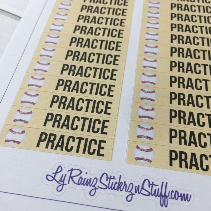 Baseball Practice Sticker Strips for the Classic sized Passion Planner by  LyRainzStickrzNStuff on Etsy