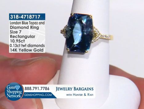 10.95 ct London Blue Topaz Rectangular & 0.13 ctw Diamond 14K Yellow Gold Ring Size 7 Item #318-4718717  Tune into Gem Shopping Network to see stunning gemstones and jewelry 24/7. Magnificent emerald rings, blue tanzanite earrings, platinum diamond bracelets, or estate sapphire necklace are just a click away! Visit our website to day and discover your jewelry destination.